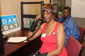 Volunteer Member Organizers phone-bank in Stanislaus County.