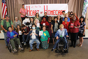 """A group of San Diego providers show off the valentines they created while telling the Governor """"We are the Heart of Homecare!"""""""