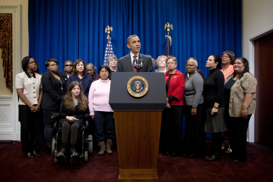 UDW caregivers were present in 2011 when President Obama announced his intention to change the FLSA to protect homecare workers.