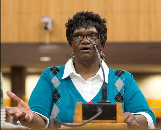 Terry Walker-Dampier, UDW homecare provider, testifies at IHSS hearing in Sacramento.