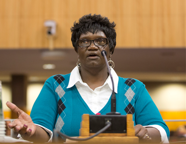 Terry Walker-Dampier educated lawmakers on the devastating impacts of the 7% cut.