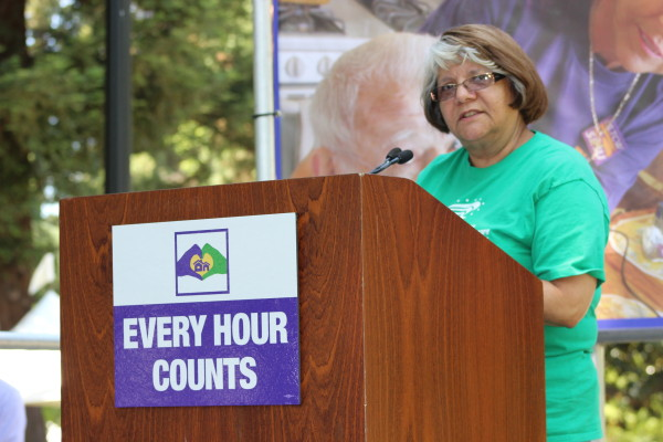 Vibiana Saavedra speaking out to protect homecare at the State Capitol
