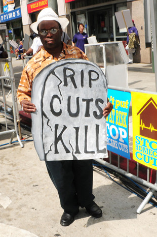 Protestor at the historic LA rally in 2009