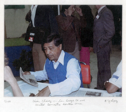 Cesar Chavez at the first contract signing for UDW homecare workers in San Diego in 1979.