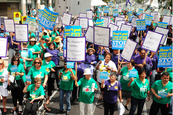 Thousands of homecare workers, their clients and families lined the streets of Los Angeles in historic 2009 protest rally.