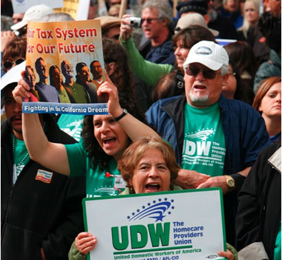 UDW members participate in the March for California's Future.