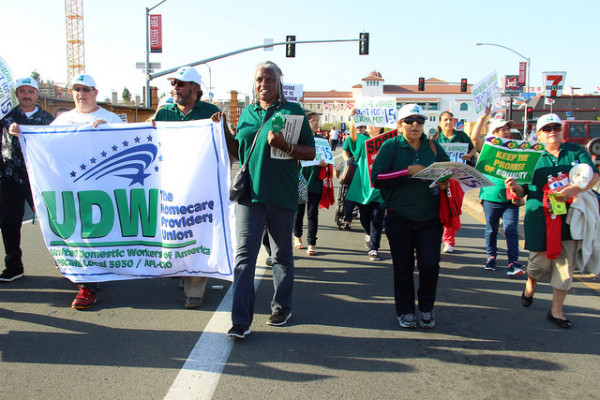 UDW homecare workers march in San Diego.